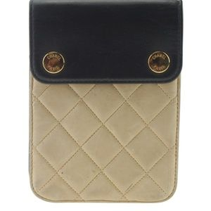 Chanel Phone Case Black & Beige Quilted Bag 166680